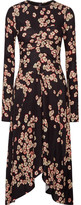 Isabel Marant Diana Asymmetric Floral-print Stretch-crepe Dress - Dark purple