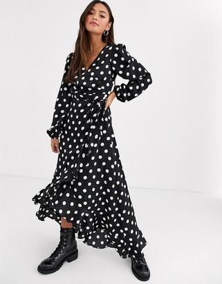 New Look long sleeve large spot midi dress in black polka dot