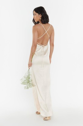 Nasty Gal Womens Always the Bridesmaid Satin Strappy Dress - Tan - 8