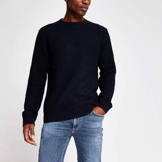 River Island Mens Navy slim fit tipped knitted jumper