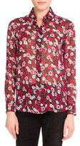 Saint Laurent Poppy-Print Classic Silk Blouse, Medium Red
