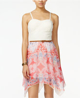 As U Wish Juniors' Crochet Printed Belted Dress