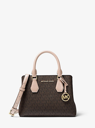 Michael Kors Camille Small Logo and Leather Satchel