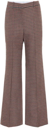 Victoria Beckham Checked high-rise flared wool pants