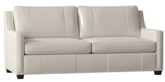 "Bradington-Young Ward Genuine Leather 80"" Square Arm Sofa Body Fabric: Milestone White, Leg Color: Mahogany, Nailhead Detail: French Natural, Cushion"