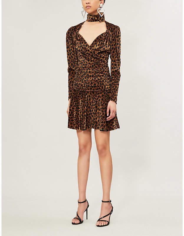 ATTICO Leopard-print velvet mini dress