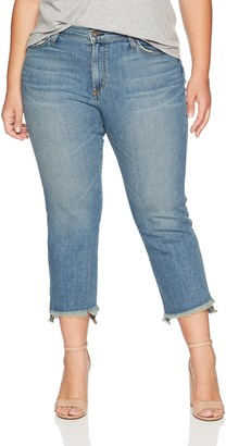 James Jeans Women's Plus Size Hi-Lo Straight Leg Stepped Hem Jean in Melrose 28W