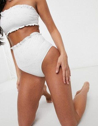 ASOS DESIGN mix and match broderie high waist bikini bottom in white