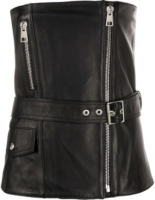 Manokhi Jean strapless leather top