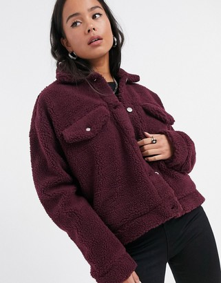 Dr. Denim Pixley borg jacket in burgundy