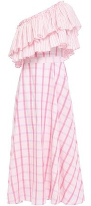 Gül Hürgel One-shoulder Ruffled Striped Cotton-gauze Midi Dress
