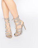 Missguided Laser Cut Lace Up Heeled Gladiators