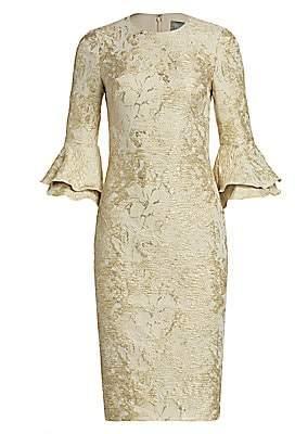 Theia Women's Metallic Ruffle Sheath Dress