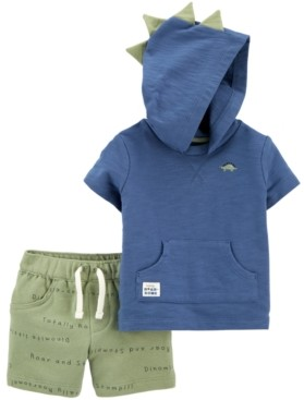 Carter's Baby Boys 2-Pc. Cotton Dino Hoodie & Shorts Set