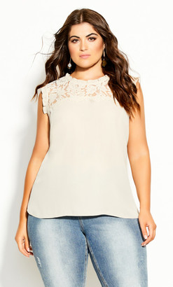 City Chic Lace Angel Top - buff