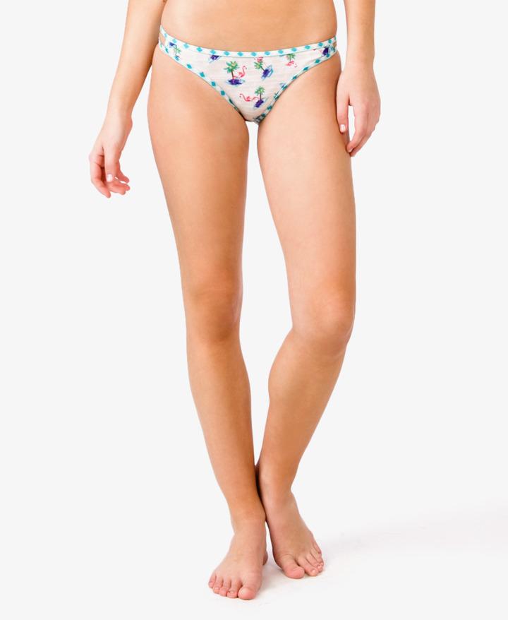 Forever 21 Tropical Flamingo Cutout Bikini Bottoms