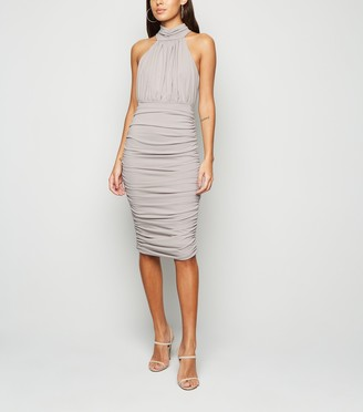 New Look AX Paris High Neck Ruched Bodycon Dress