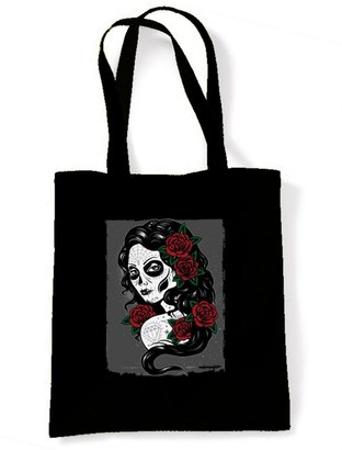Tribal T Shirts Day Of The Dead Girl Sugar Skull Tattoo Tote/Shoulder Bag