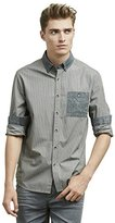 Kenneth Cole Reaction Men's Long Sleeve Mini Check Button Down Shirt with Pocket