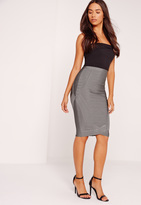 Missguided Premium Curved Front Bandage Midi Skirt Grey