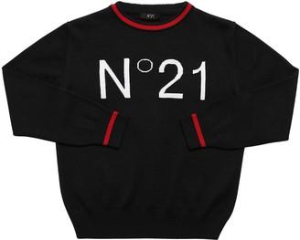 N°21 Logo Jacquard Knit Wool Blend Sweater
