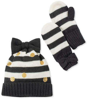 Kate Spade Girls' Striped Bow Hat And Mittens Boxed Set