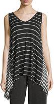 Max Studio Sleeveless Striped Swing Top, Black/Ivory