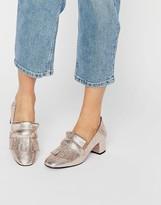 MANGO Metallic Tassel Heeled Loafer