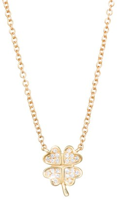 Ef Collection Diamond Mini Clover Pendant Necklace