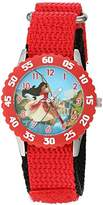 Disney Girl's 'Elena of Avalor' Quartz Stainless Steel and Nylon Watch, Color:Red (Model: W003037)
