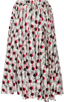 Marni Asymmetric Printed Cotton-poplin Midi Skirt - White