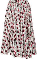 Marni Asymmetric Printed Cotton-poplin Midi Skirt - White