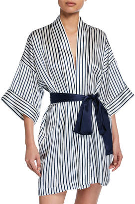 Violet & Wren Piped Short Silk Kimono Robe