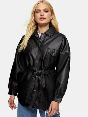 Topshop Carlos Faux Leather PU Tie Jacket - Black