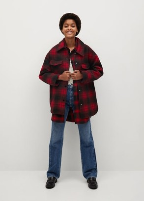 MANGO Checked overshirt red - XS - Women