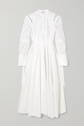 Alexander McQueen Cutout Pleated Cotton-poplin Dress - Cream