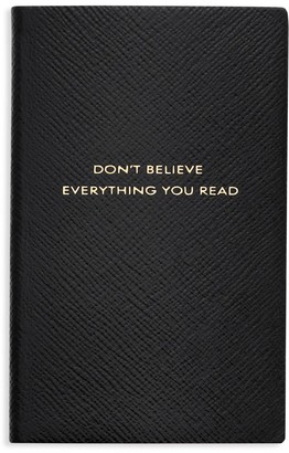 Smythson Panama Don't Believe Everything You Read Leather Notebook