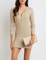 Charlotte Russe Ribbed Zip-Front Sweater Dress