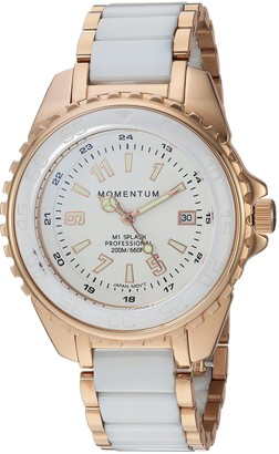 Momentum Women's Stainless Steel Japanese-Quartz Diving Watch with Ceramic Strap