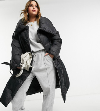 Native Youth Plus longline puffer coat with extreme collar in black