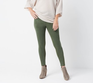 Women With Control Women with Control Petite Tummy Control Faux Suede and Ponte Leggings