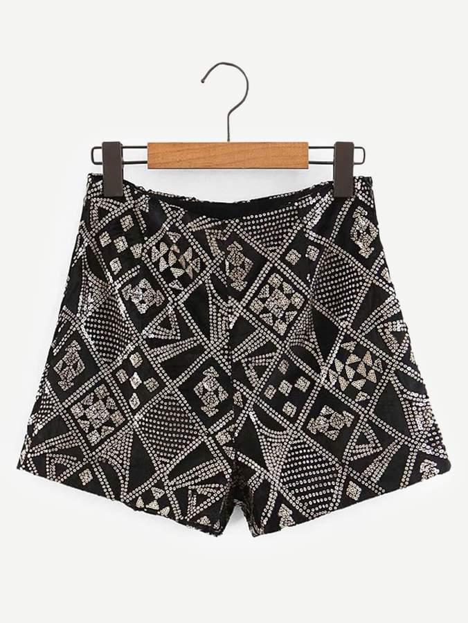 Shein Geo Pattern Sequin Shorts