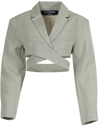 Jacquemus Light Green Le Haut Azur Cropped Blazer