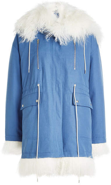 Calvin Klein Cotton Parka with Shearling Trim