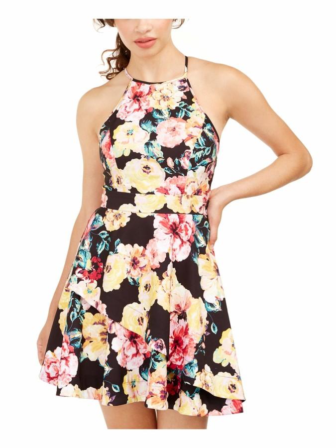 Speechless Womens Yellow Floral Sleeveless Halter Short Fit + Flare Dress Juniors US Size: 0