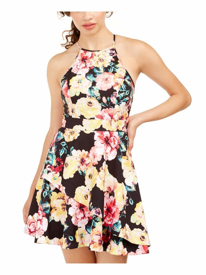 Speechless Womens Yellow Floral Sleeveless Halter Short Fit + Flare Dress Juniors US Size: 9