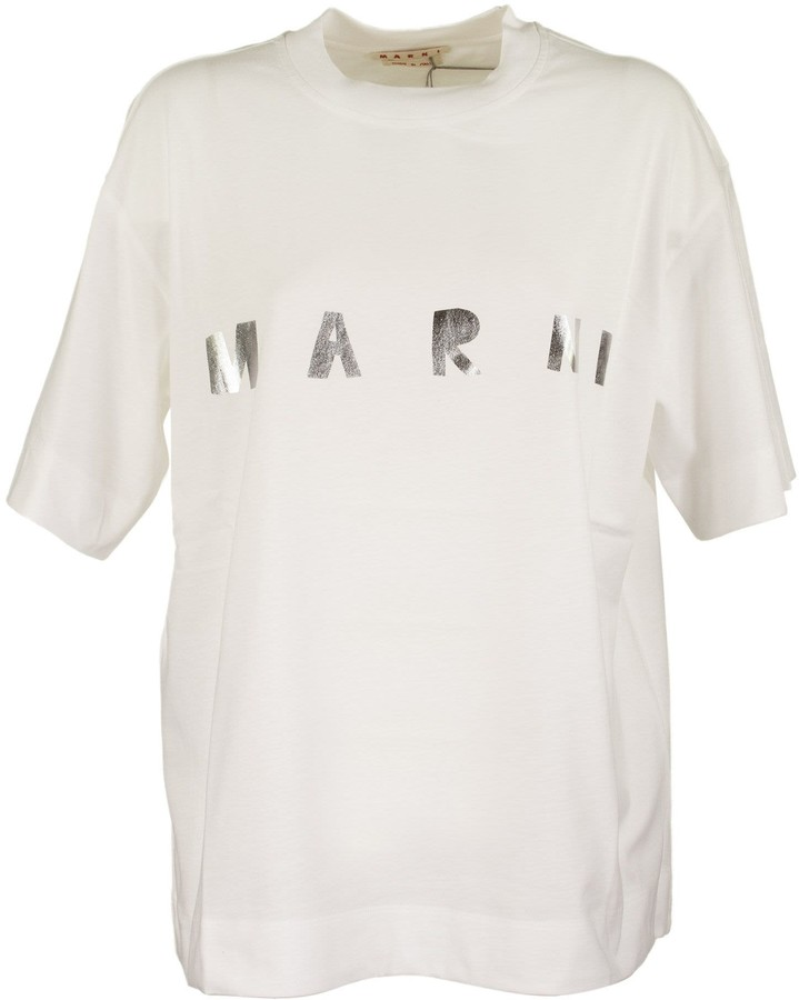 Marni Short-sleeved Jersey T-shirt With Frontal Logo Silver