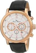 Lucien Piccard Men's 12011-RG-02S Monte Viso Chronograph White Textured Dial Dark Black Leather Watch