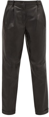 Nili Lotan Montana Pleated Leather Trousers - Black