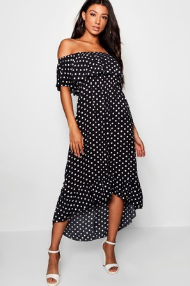 boohoo Woven Polka Dot Print Off The Shoulder Maxi Dress